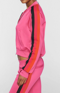 Cropped Track Jacket - Rouge Pink