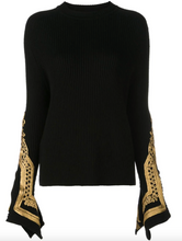 Load image into Gallery viewer, Sweater with Embroidered Sleeves - Black/Gold