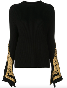 Sweater with Embroidered Sleeves - Black/Gold