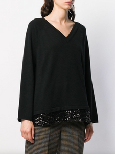 V-neck Sweater with Sequin Trim - Black