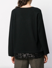 Load image into Gallery viewer, V-neck Sweater with Sequin Trim - Black