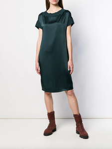 Satin T-shirt Dress - Teal