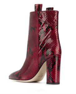 Snake Ankle Boot 100 mm - Dark Red