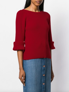Elbow Sweater - Deep Red