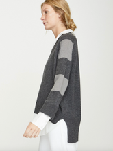 Load image into Gallery viewer, V-neck Sweater - Gray Stripe