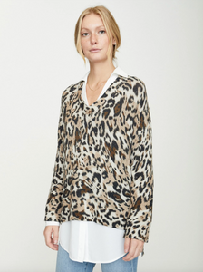 V-neck Sweater - Leopard