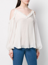 Load image into Gallery viewer, Ruffled Cold Shoulder Blouse - Pure White
