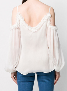 Ruffled Cold Shoulder Blouse - Pure White