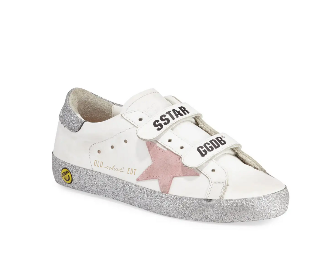 Toddler/Kids Old School Sneaker - White/Pink/Silver Glitter