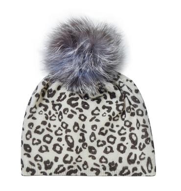 Leopard Print Cashmere Hat with PomPom