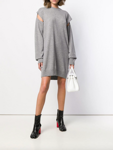Cut-out Knitted Dress - Gray