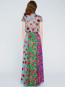 Jeannie Top - Poppy Garden Bluebird Print