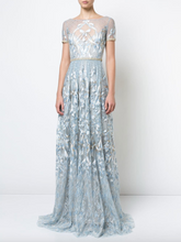 Load image into Gallery viewer, Embroidered Plunge-back Gown - Light Blue