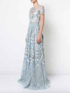Embroidered Plunge-back Gown - Light Blue