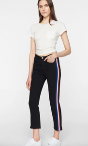 Crop Flare Pant - Black/Stripe