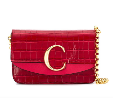 Croc 'C' Clutch - Dusky Red