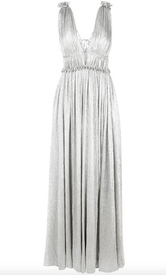 Plisse Open Neck Maxi Dress - Silver Lame