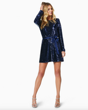 Load image into Gallery viewer, Hallie Sequin Dress - Navy