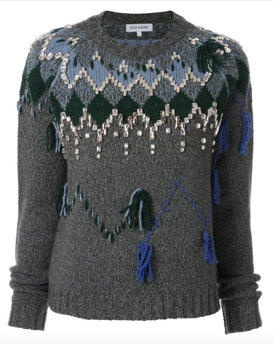 Crystal Embellished Sweater - Anthracite