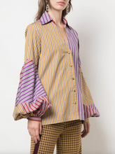 Load image into Gallery viewer, Dee Shirt - Purple/Yellow Stripe