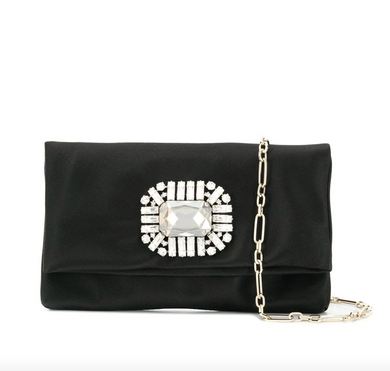 Titiana Clutch - Black Satin