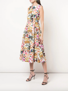 Fluted Dress - Floral Print