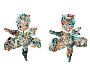 Crystal Lily Earring - Turquoise Confetti