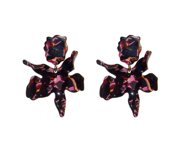 Small Paper Lily Earring - Black Cherry