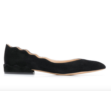 Scalloped Suede Flat - Black