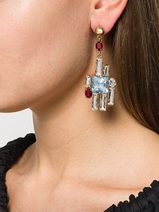 Graphic Crystal Earrings - Multi