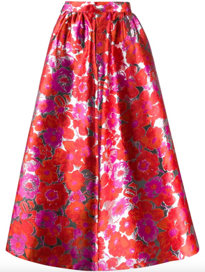 Floral Full Skirt - Red