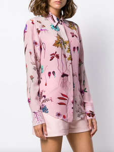 Floral Print Button Down - Pink