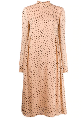 Smocked Midi Dress - Tan/Black