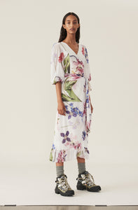 Printed Mesh Wrap Dress - Bright White Floral
