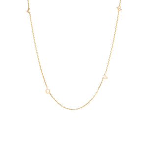 14K Itty Bitty Spread Out 4 Letter Necklace