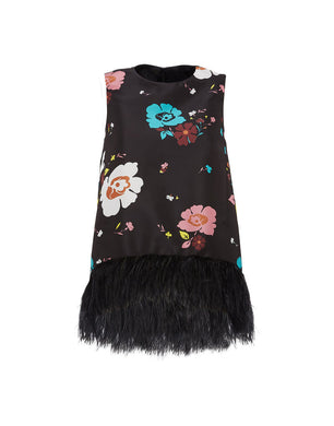 La Scala Top with Feathers - Black/Multi