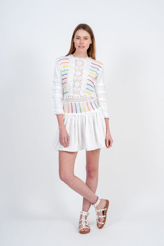 Tusson Mini Dress - White & Candy Stripe Embrodiery