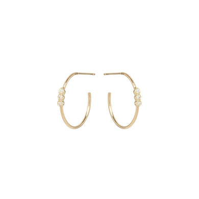 14K 3 Bezel Set Diamond Small Hoops