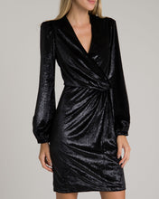 Load image into Gallery viewer, Liquid Velvet Dress - Black