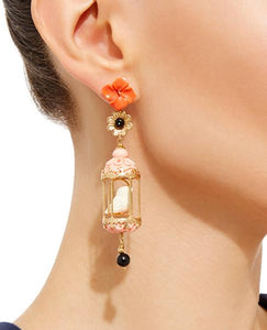 Aviary Classic Earring - Ruby, Black, White