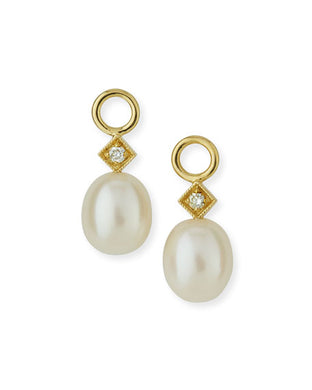 White Pearl Briolette Charm - Yellow