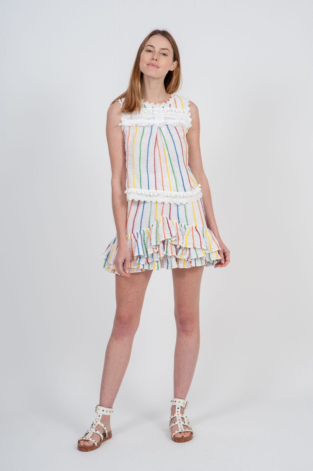 Colmar Top - White Candy Stripe