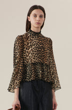 Load image into Gallery viewer, Pleated Georgette Blouse - Leopard