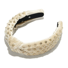 Load image into Gallery viewer, Velvet Crystal Headband - Ivory