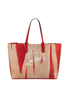 Cabata Studded Printed Leather Tote - Kraft/Red