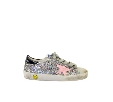 Toddler/Kids Superstar Sneaker - Pink/Silver Glitter