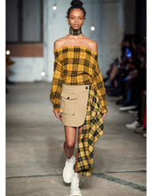 Load image into Gallery viewer, Tartan Off the Shoulder Sweater - Mustard