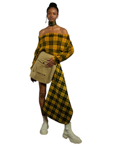 Tartan Off the Shoulder Sweater - Mustard