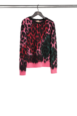 Leopard Jacquard Sweater - Pink/Red