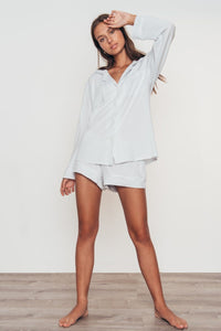 Gisele Long Sleeve & Short Set - Water Blue/White